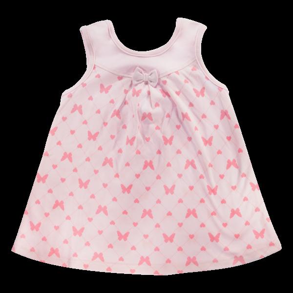 Bavlněné šatičky Mamatti na ramínka Motýlek srdíčko - růžové, vel. 104 - 104