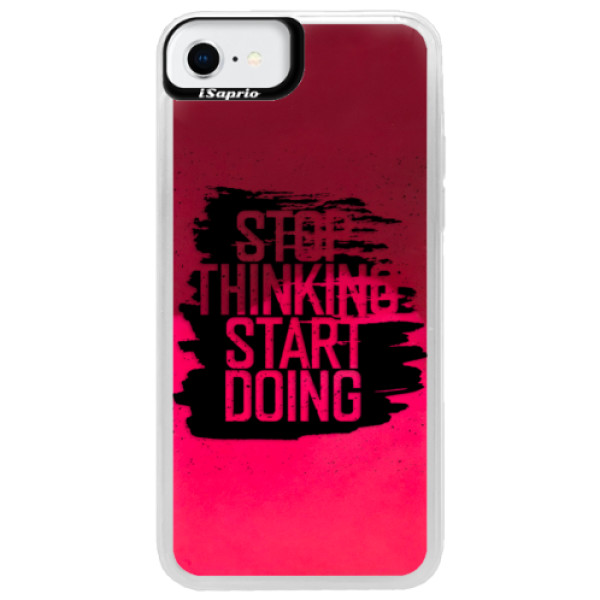 Neonové pouzdro Pink iSaprio - Start Doing - black - iPhone SE 2020