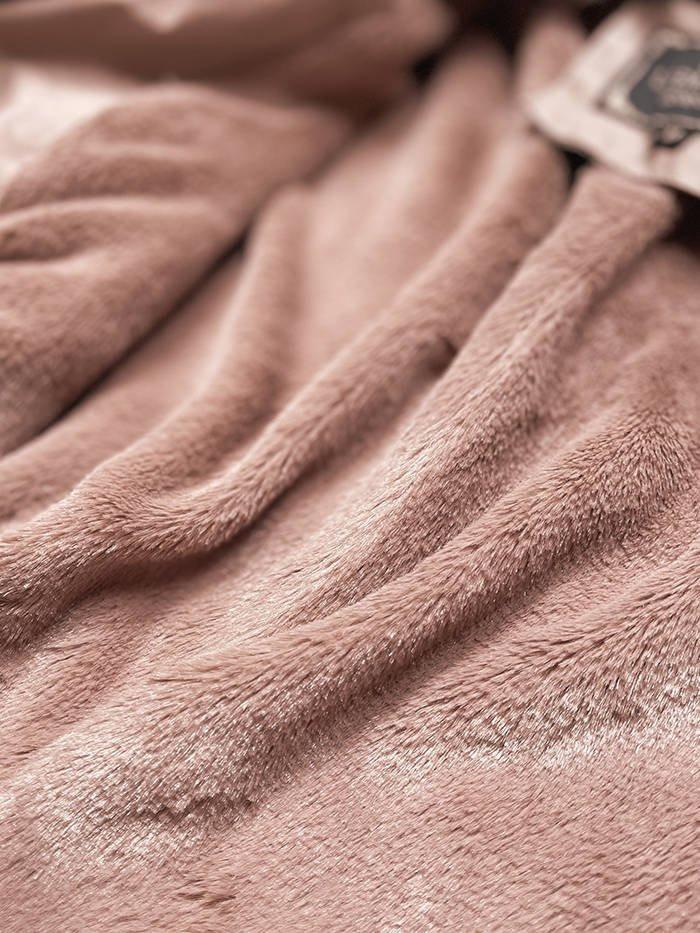 Růžový dámský koženkový kabát (LD5520BIG)