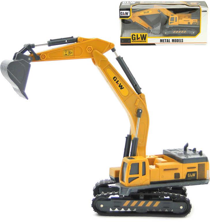 PL Bagr kovový pásový 1:55 funkční rameno pracovní stroj v krabici
