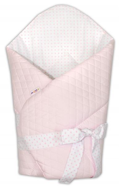 Novorozenecká zavinovačka prošívaná se stuhou - Medvídek Maxik - růžová/tečky