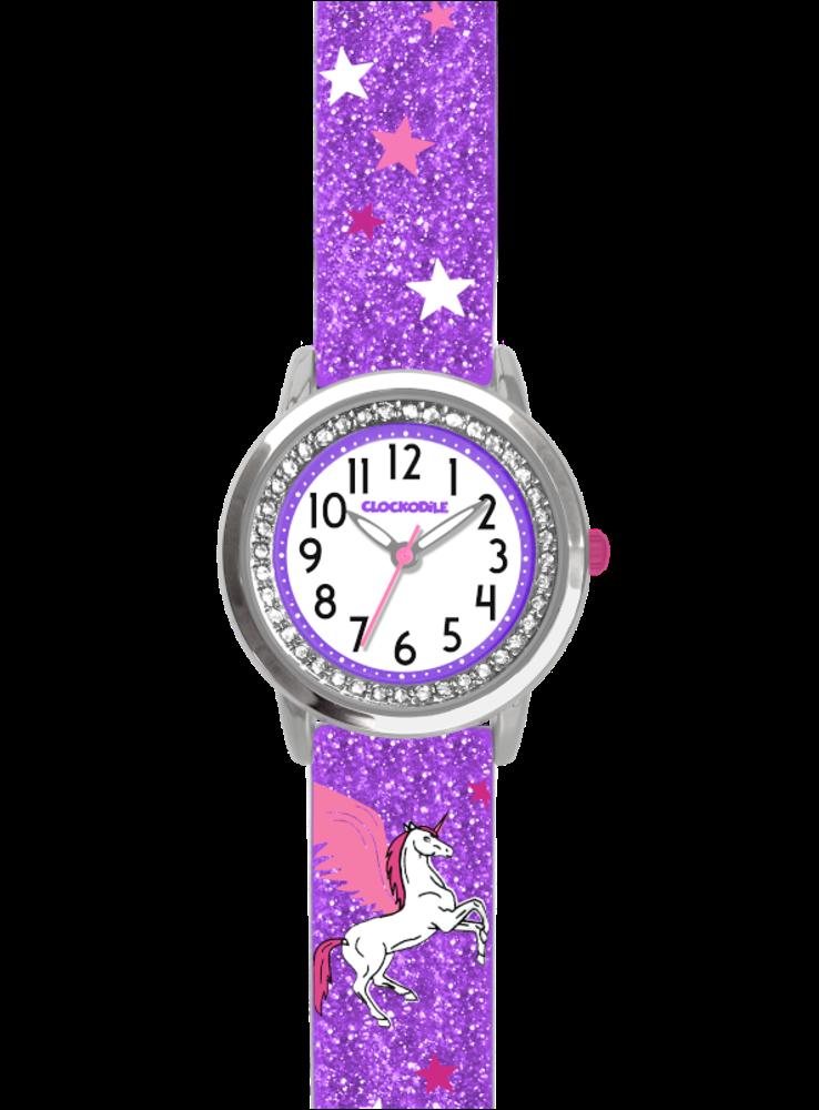 Fialové třpytivé dívčí dětské hodinky s jednorožcem a kamínky CLOCKODILE UNICORN