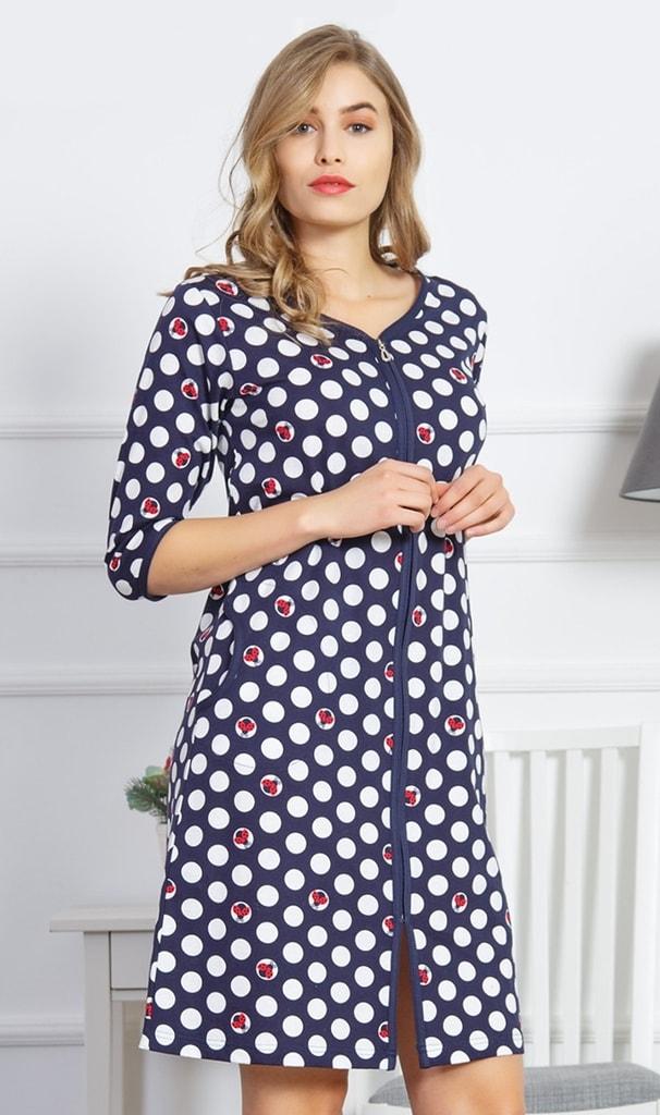 Dámské domácí šaty s tříčtvrtečním rukávem Berušky - tmavě modrá