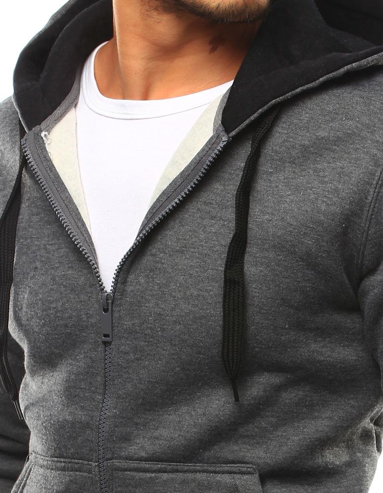 Pánská mikina s kapucí 2074-2 bx2430 - J.Style - Grafit/L