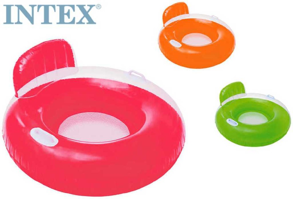 INTEX Sedátko kulaté s úchyty nafukovací do vody 3 barvy 56512
