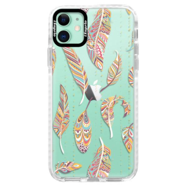 Silikonové pouzdro Bumper iSaprio - Feather pattern 02 - iPhone 11
