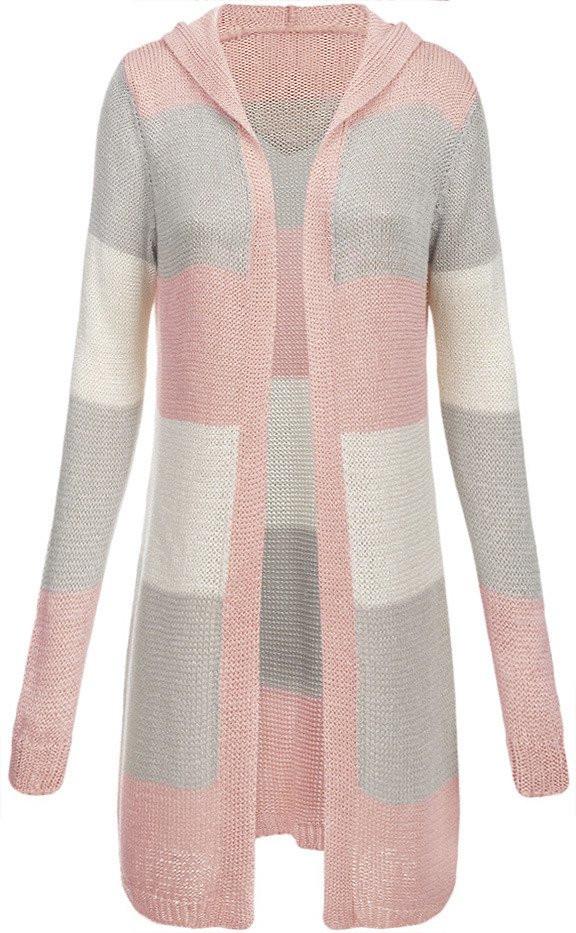 Růžovo-šedý dlouhý dámský svetr s kapucí (122ART) - Růžová/ONE SIZE