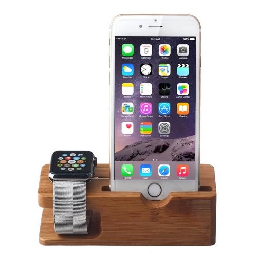 Dřevěný nabíjecí stojánek 2 v 1 pro Apple Watch 38mm / 42mm