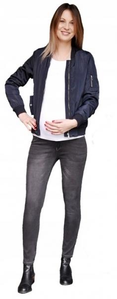 Smile Těhotenské kalhoty JEANS s pružným pásem Angie - Černé, vel. XL - XL (42)