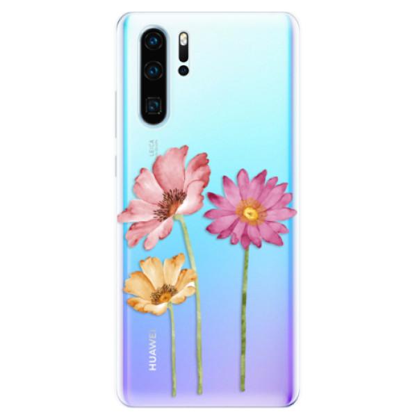 Odolné silikonové pouzdro iSaprio - Three Flowers - Huawei P30 Pro