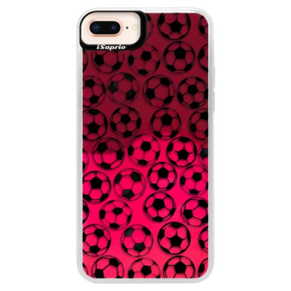 Neonové pouzdro Pink iSaprio - Football pattern - black - iPhone 8 Plus