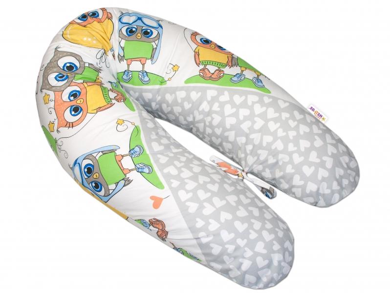 Baby Nellys Kojící polštář - relaxační poduška Multi Cute Owls - šedý