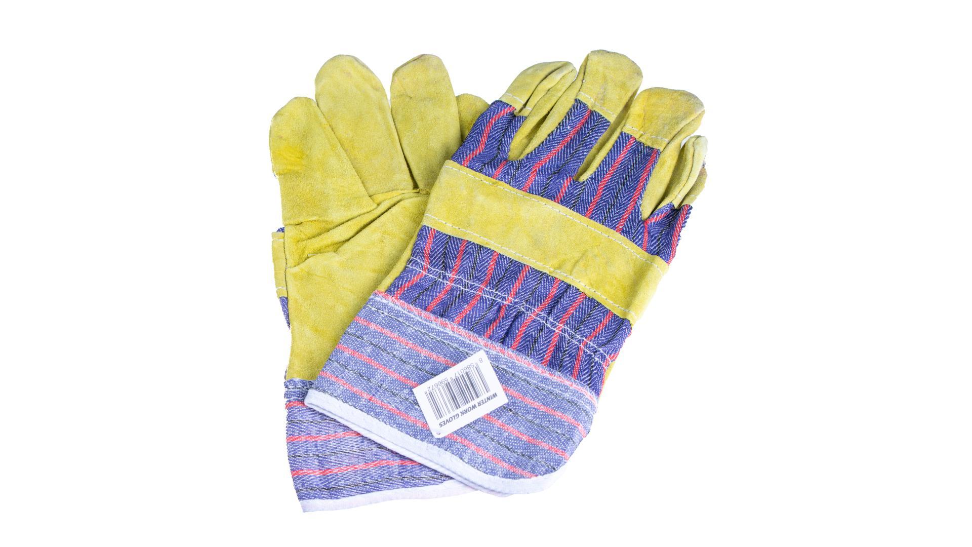 4CARS Zimné pracovní rukavice - kožené