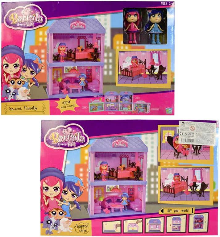 Domeček pro panenky 24x34 cm herní set s příslušenstvím v krabici