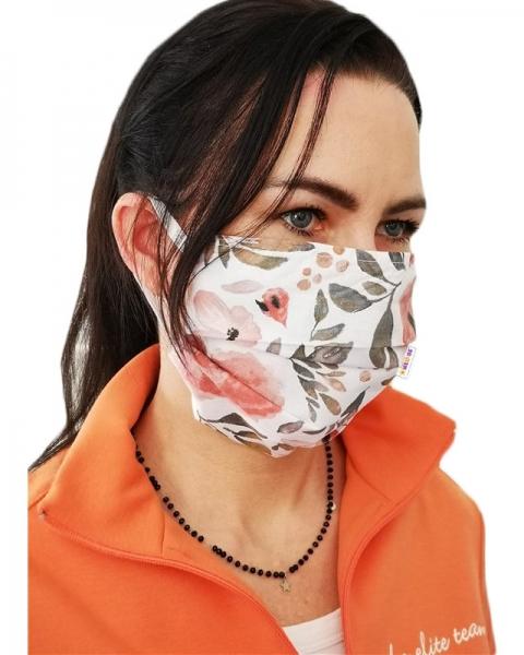 Bavlněná rouška, dvouvrstvá s kapsou na filtr na gumičku - dámské motivy, barvy