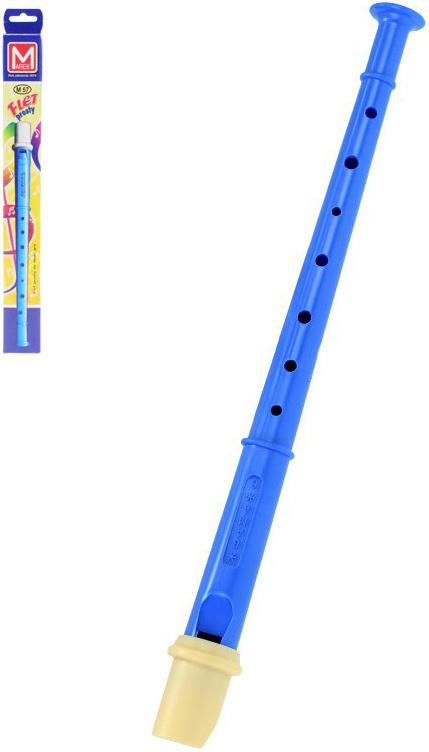Flétna dětská plastová 33 cm modrá v krabičce