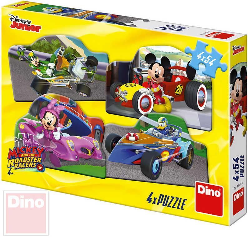 DINO Puzzle 4x54 dílků obrysové Mickey a Minnie na závodech 19,5x13,5cm 4v1