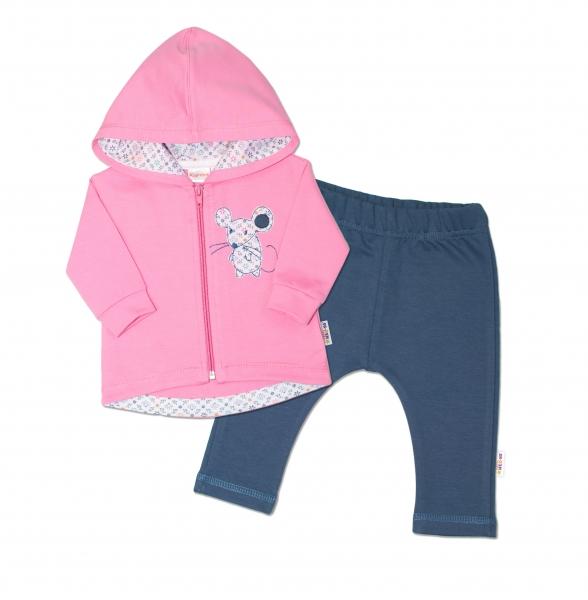 K-Baby Tepláková souprava s kapucí Myška - růžová/jeans, vel. 86 - 86 (12-18m)