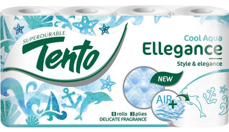 Ellegance Cool Aqua 3vrstvý toaletní papír, role 156 útržků, 8 rolí