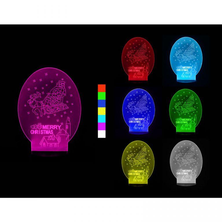 Bezpečná 3D led svítilna 4,5V, USB AA tvar sáňky 7 barev Časžít