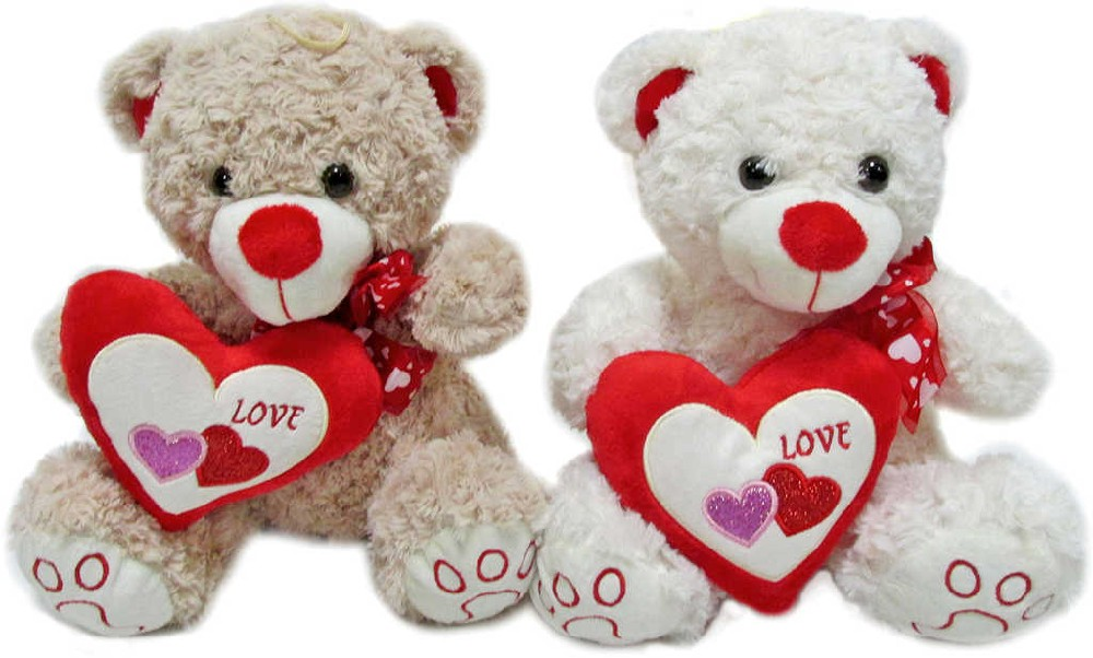 PLYŠ Medvídek srdcík 30 cm se srdíčkem Love - 2 barvy