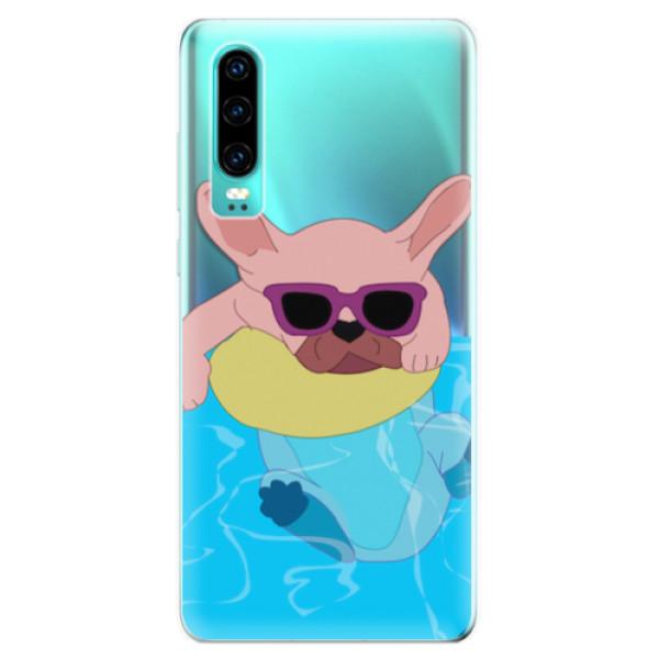 Odolné silikonové pouzdro iSaprio - Swimming Dog - Huawei P30