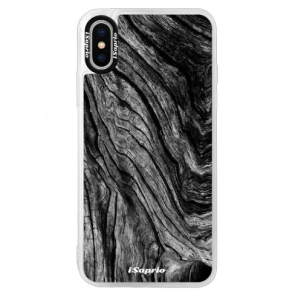 Neonové pouzdro Blue iSaprio - Burned Wood - iPhone X