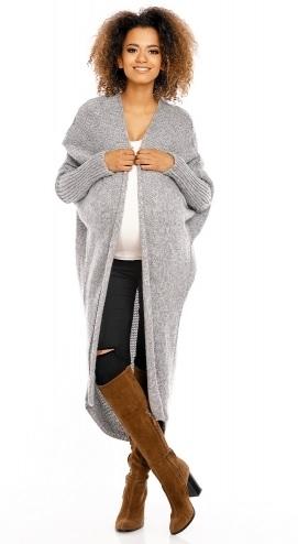 Be MaaMaa Dlouhý pletený těhotenský kardigan - šedý - UNI