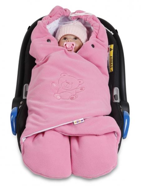Dětská zavinovačka, fusák polar, bio bavlna - růžová