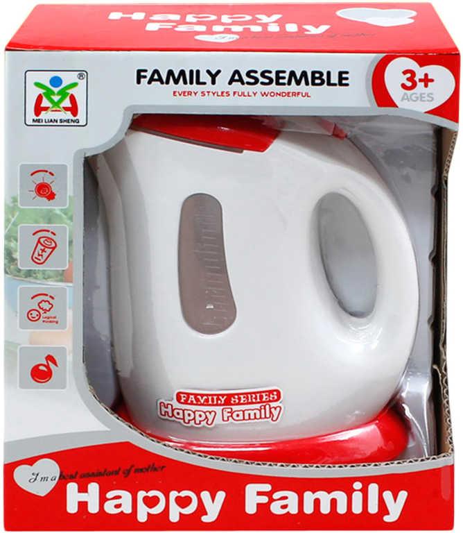 Konvice rychlovarná dětská červeno-bílá 17cm na baterie Světlo Zvuk v krabici