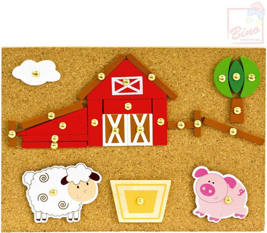 BINO DŘEVO Hra s kladívkem Farma kreativní set natloukací tvary na desce
