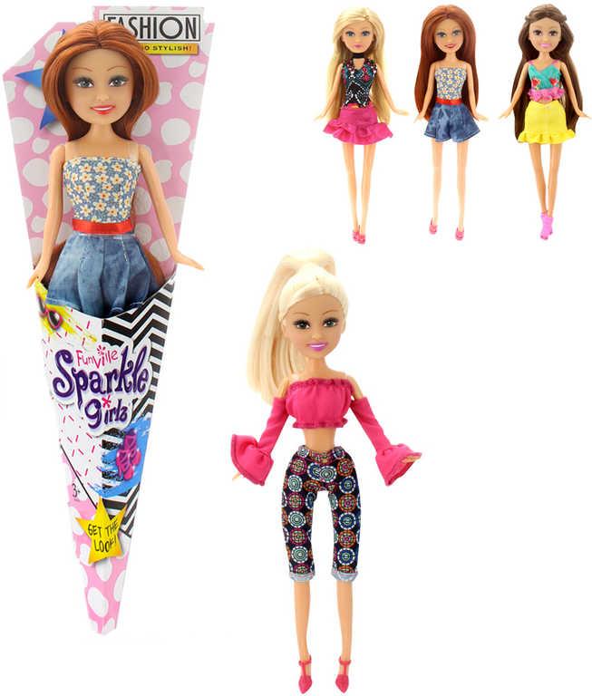 Panenka v kornoutu modní Sparkle Girlz Fashion dlouhé vlasy - 4 druhy