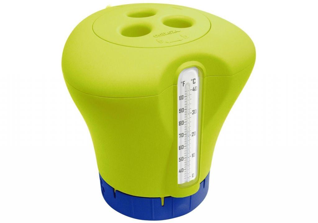 Plovák na chlor s teploměrem, žluto/zelená