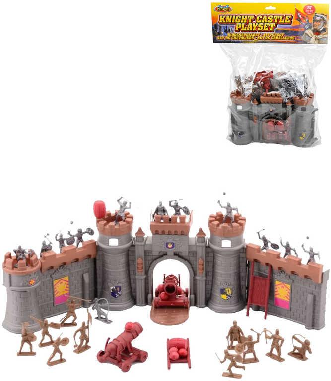 Herní set rytířský figurky plastové s rozkládacím hradem a doplňky v sáčku