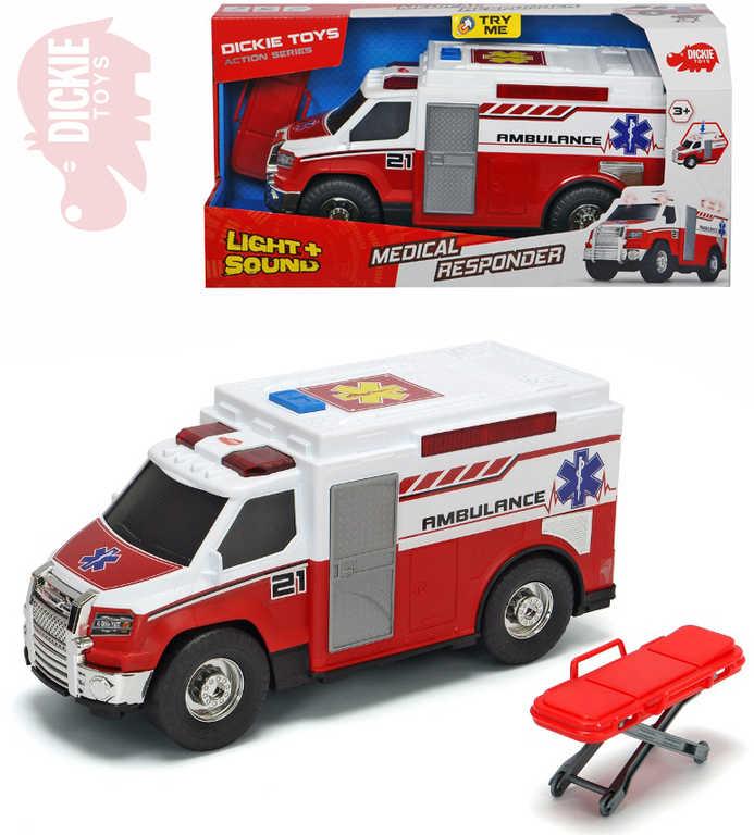 DICKIE Auto ambulance 30cm sanitka na baterie set s nosítky Světlo Zvuk