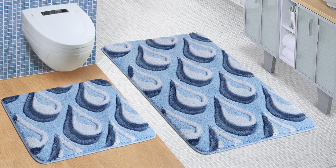 Koupelnová SADA ULTRA 60x100+60x50cm Kapky modré