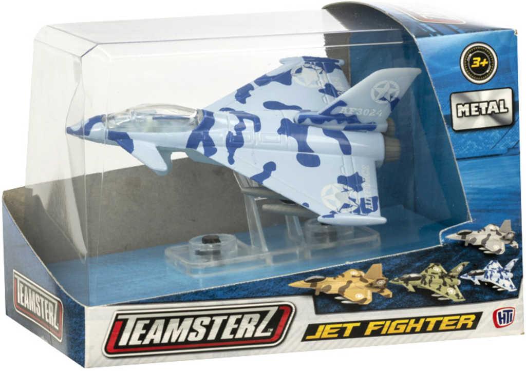Teamsterz tryskové letadlo vojenská stíhačka kovový model různé barvy v krabici