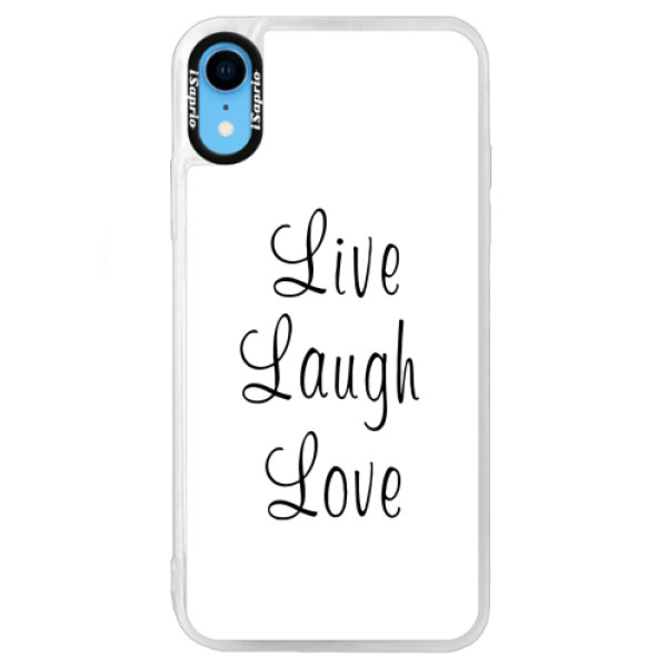 Neonové pouzdro Blue iSaprio - Live Laugh Love - iPhone XR