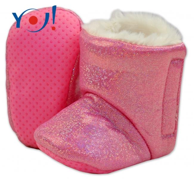Zimní botičky/capáčky s kožíškem YO! - lesklé - růžové - 12/18měsíců