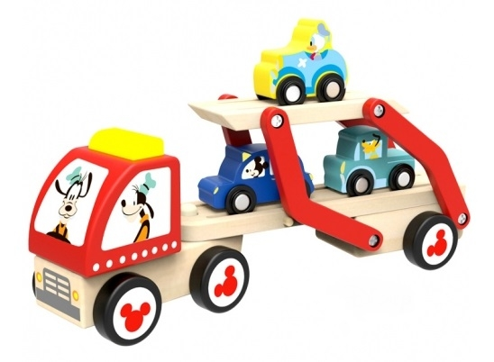 Dřevěný tahač pro přepravu autíček, 29x12x7 cm