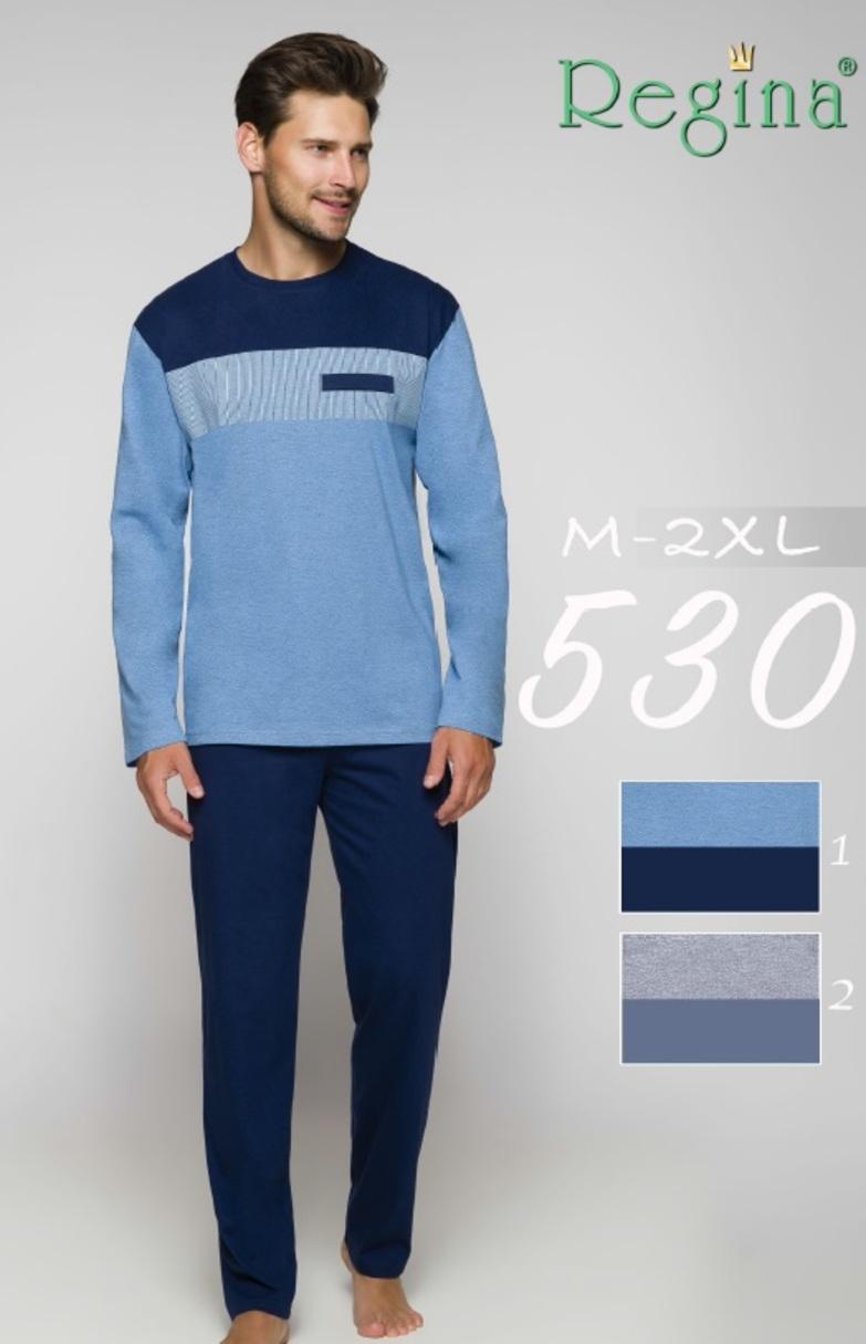 530BIG Pánské pyžamo - Modrá/2XL