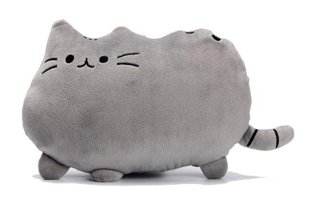 Plyšová kočka - dekorační polštářek 30x40cm, tm. šedá