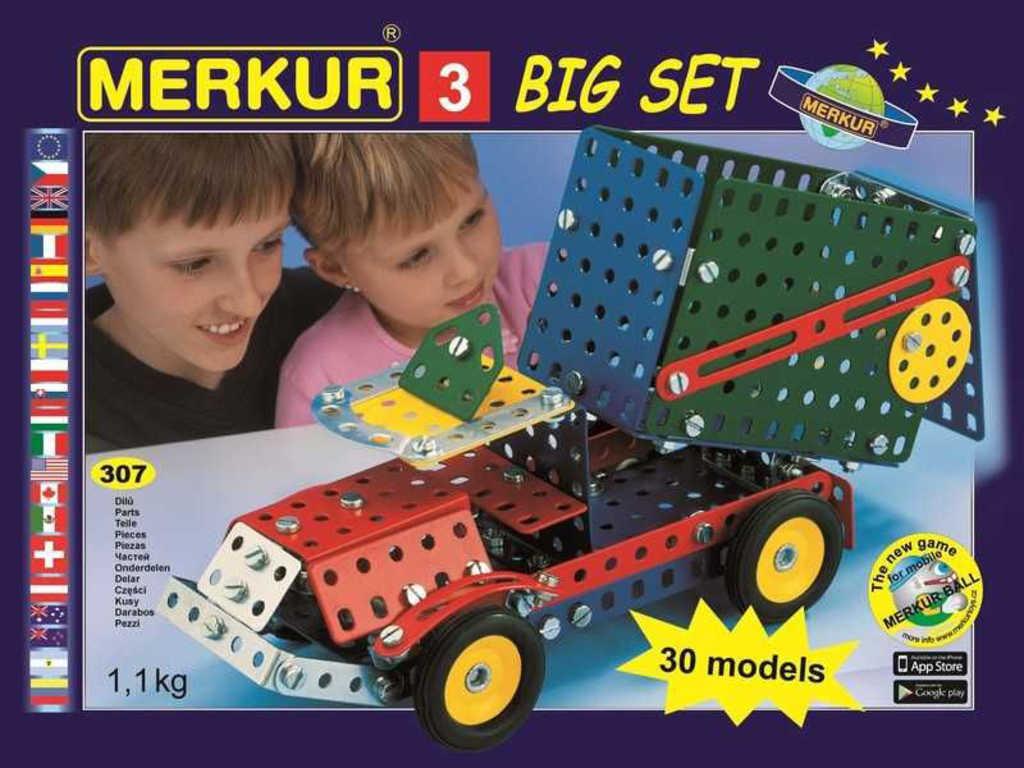 MERKUR 3 - sklápěčka 30 modelů * KOVOVÁ STAVEBNICE *