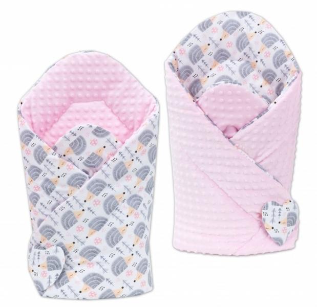 Oboustranná zavinovačka Minky Baby - Ježek šedý/ růžová