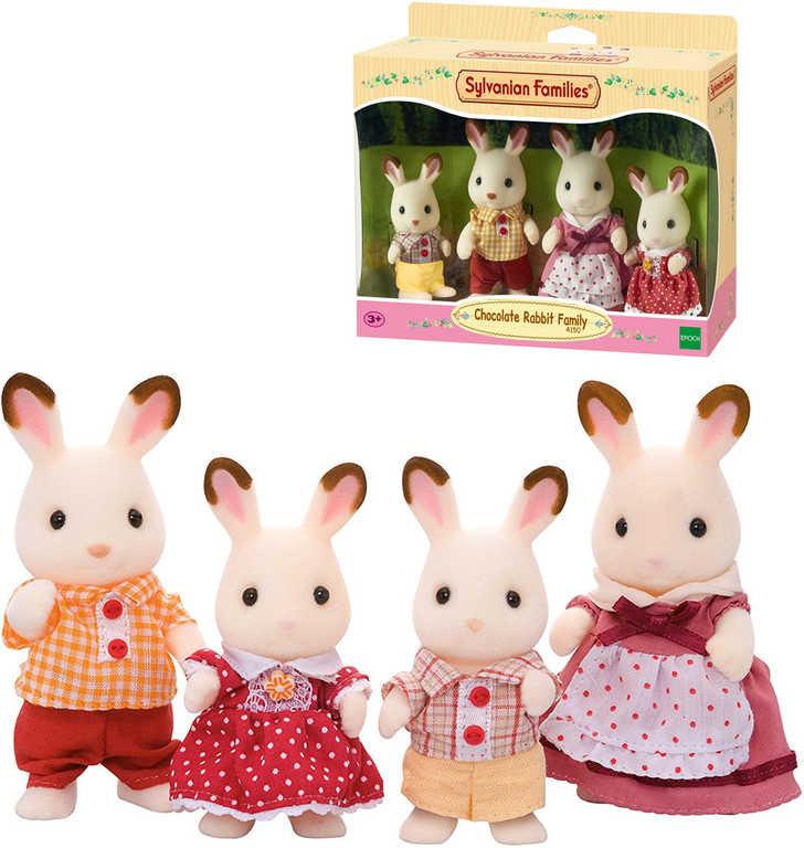 Sylvanian Families chocolate králíci semiš set rodinka 4 postavičky pohyblivé části