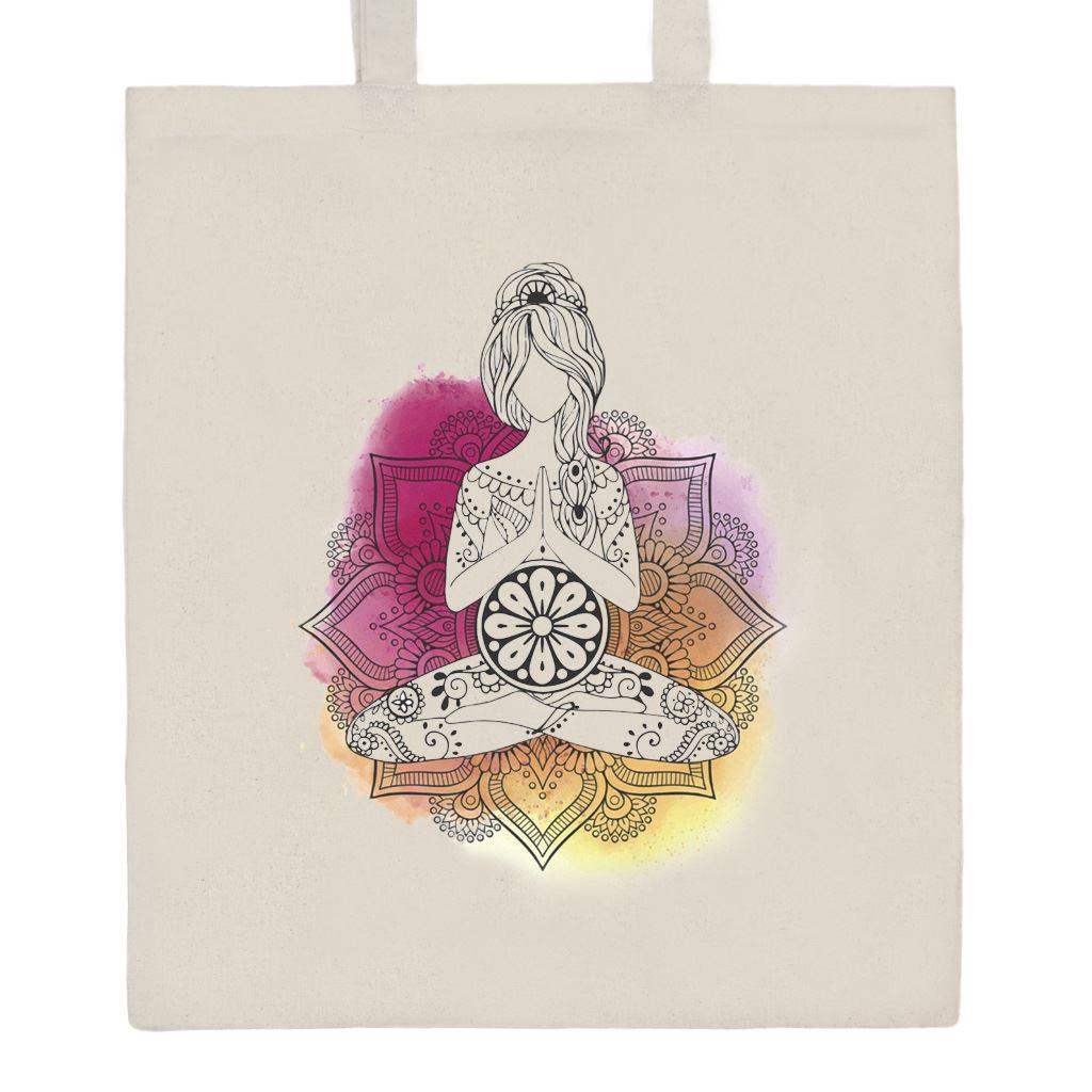 Bavlněná nákupní taška s potiskem New Baby Mandala - přírodní