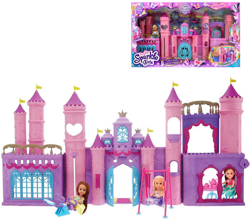 Sparkle Girlz Herní set zámek s funkčním výtahem s panenkou a doplňky plast