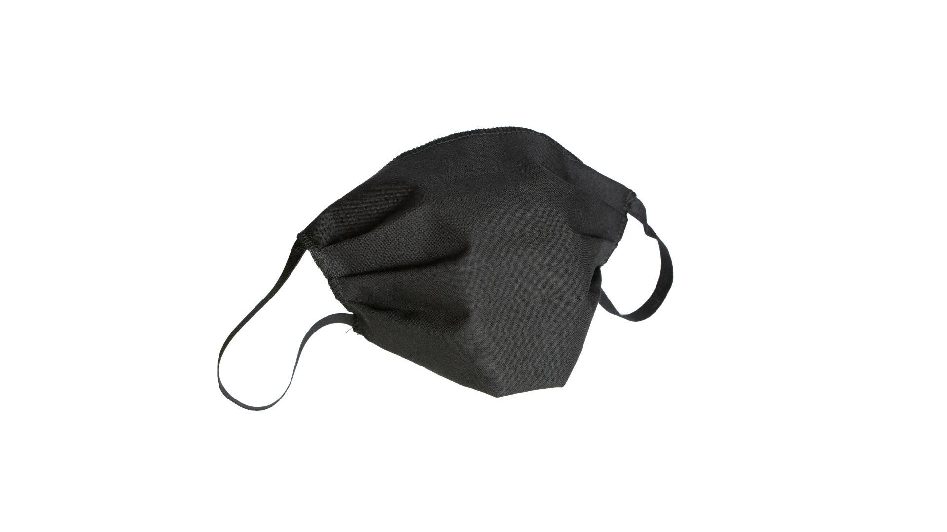 4CARS Dvouvrstvé ochranné bavlněné rouško černé bez vzoru s gumičkou 1ks
