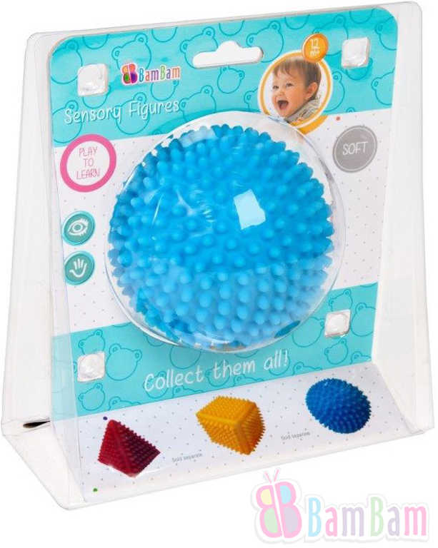 ET BAM BAM Baby Míček senzorický soft gumový s bodlinkami pro miminko