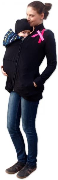 JOŽÁNEK Mikina pro nosící, těhotné - s aplikací růžových proužků - L/XL